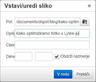 Optimizacija slike v Lytee-ju